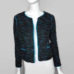 Willow and Clay Blue Green Fuzzy Blazer